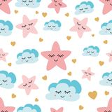 Cute sky pattern. Seamless vector design with smiling, sleeping moon, hearts, stars clouds. Baby wallpaper. Cute sky pattern. Seamless vector design with smiling stock illustration