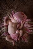 Cute sleeper newborn baby girl in pink cap on wool Royalty Free Stock Images