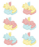 Cute sleeping angel-cats. An illustration of the cute sleeping angel-cats Stock Photography