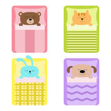 Cute sleeping animal set. Cat, bear, dog rabbit, hare and  bunny. Bed, blanket pillow. Baby background. Flat design. Cute sleeping animal set. Cat, bear, dog Stock Photos