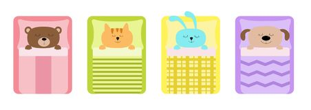 Cute sleeping animal set line. Cat, bear, dog rabbit, hare and bunny. Bed, blanket and pillow. Baby background. Flat design. Vector illustration stock illustration