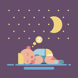 Cute sleeping baby geometry flat illustration Stock Images