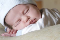 Cute sleeping baby portrait Stock Image