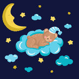 Cute sleeping bear vector illustration with clouds stars and moon Royalty Free Stock Photography