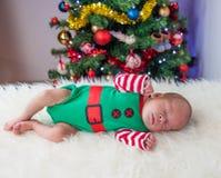 Cute sleeping christmas newborn elf Stock Photography