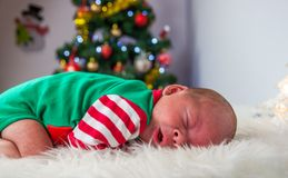 Cute sleeping christmas newborn elf Royalty Free Stock Photography