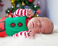 Cute sleeping christmas newborn elf Stock Images