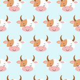 Cute sleeping cow seamless pattern. Funny background for baby and kids design. Vector illustration royalty free illustration