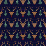 Cute sleeping deer with bow and Xmas Trees seamless pattern. Deer head silhouette background for winter holidays Stock Image