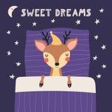 Cute sleeping deer illustration