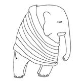 Cute sleeping elephant in a pajamas or pullover. Hand drawn good Royalty Free Stock Images