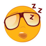 Cute sleeping emoticon in a sunglasses on white background. Royalty Free Stock Image