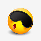 Cute sleeping emoticon wearing sleep mask, emoji -  illustration Royalty Free Stock Photo