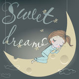 Cute sleeping girl on the moon Stock Photo