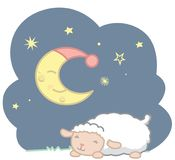 Cute Sleeping Kawaii Style Baby Sheep and Sleeping Crescent Moon With Blue Night Cap and Stars Night Scene Vector Illustration Iso. Lated on white. All elements royalty free illustration