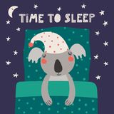 Cute sleeping koala. Hand drawn vector illustration of a cute funny sleeping koala in a nightcap, with pillow, blanket, quote Time to sleep. Isolated objects Royalty Free Stock Photo
