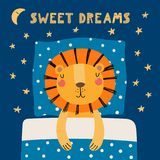 Cute sleeping lion stock illustration
