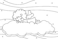 Cute sleeping little angel boy. Black and white illustration about a cute little angel boy sleeping on a cloud Stock Images