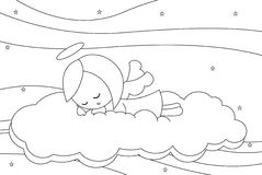 Cute sleeping little angel girl. Black and white illustration about a cute little angel girl sleeping on a cloud Royalty Free Stock Image