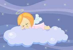 Cute sleeping little angel girl. Illustration about a cute little angel girl sleeping on a cloud in a blue starry night Stock Photos