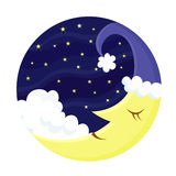 Cute sleeping Moon Royalty Free Stock Photo
