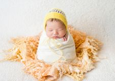 Sleeping newborn baby girl Royalty Free Stock Images