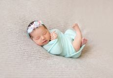 Sleeping newborn baby girl Royalty Free Stock Photography