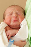 Cute sleeping newborn baby on mother hands stock photography