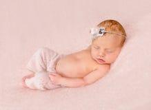 Cute sleeping newborn in panties and headband on his head. On pink blanket Stock Photos