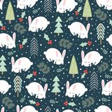Cute sleeping rabbit in the winter forest seamless pattern. Cute sleeping rabbit in the winter forest. Christmas seamless pattern. Vector illustration Royalty Free Stock Photos