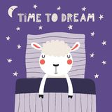 Cute sleeping sheep. Hand drawn vector illustration of a cute funny sleeping sheep, with pillow, blanket, lettering quote Time to dream. Isolated objects royalty free illustration