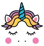Cute sleeping unicorn head colorful rainbow