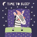 Cute sleeping zebra. Hand drawn vector illustration of a cute funny sleeping zebra in a nightcap, with pillow, blanket, quote Time to sleep. Isolated objects Stock Photography