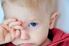Cute sleepy baby rubs his eyes stock photo
