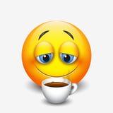 Cute sleepy emoticon drinking coffee, emoji, smiley - vector illustration Royalty Free Stock Photos