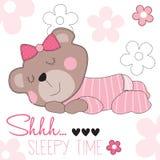 Cute sleepy time bear teddy vector illustration Stock Image