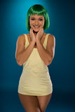 Cute slender young woman with green hair Royalty Free Stock Photography