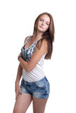 Cute slim girl posing in casual clothes Royalty Free Stock Photos
