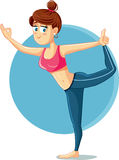 Cute Slim Girl in Yoga Pose Vector Cartoon Stock Photography