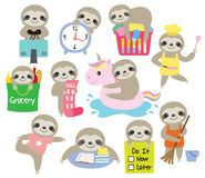 Cute Sloth Daily Activity Planner Vector Illustration royalty free illustration