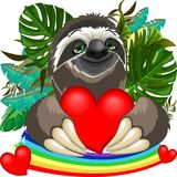 Cute Sloth in Love Holding a Red Heart Royalty Free Stock Photography