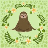 Cute sloth in a pose of yoga meditation. Vector greeting card with yoga inscription stock illustration