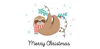 Cute sloths, funny Christmas illustrations with Santa Claus costumes, hat and scarfs, greeting cards set, banner Stock Illustration