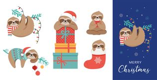 Cute sloths, funny Christmas illustrations with Santa Claus costumes, hat and scarfs, greeting cards set, banner Royalty Free Illustration