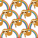 Cute Sloths on the Rainbow Seamless Pattern, sloths Repeat Pattern for textile design, fabric print, fashion or background royalty free illustration