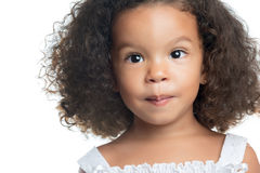 Cute small afro american girl isolated on white Stock Image