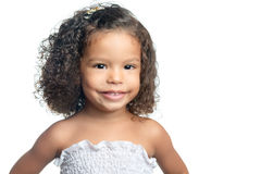 Cute small afro american girl isolated on white Royalty Free Stock Image