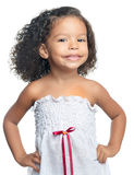 Cute small afro american girl isolated on white Stock Photography