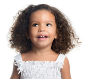 Cute small afro american girl isolated on white Royalty Free Stock Photos