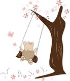 Cute small bear on swing Royalty Free Stock Images